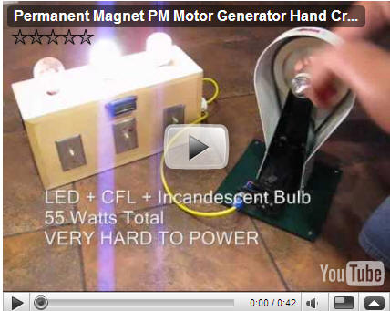 3-WAY Educational Interactive CFL Hand Crank Permanent Magnet DC Generator Interactive Display
