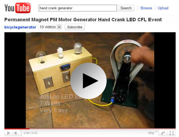 hand crank generator led cfl light display demonstration video clip