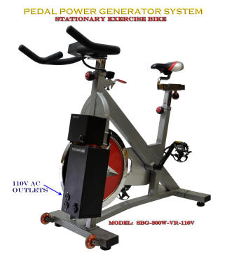 Spin bike generator for exercising and generating pedal power DC 12 Volt or 110V AC