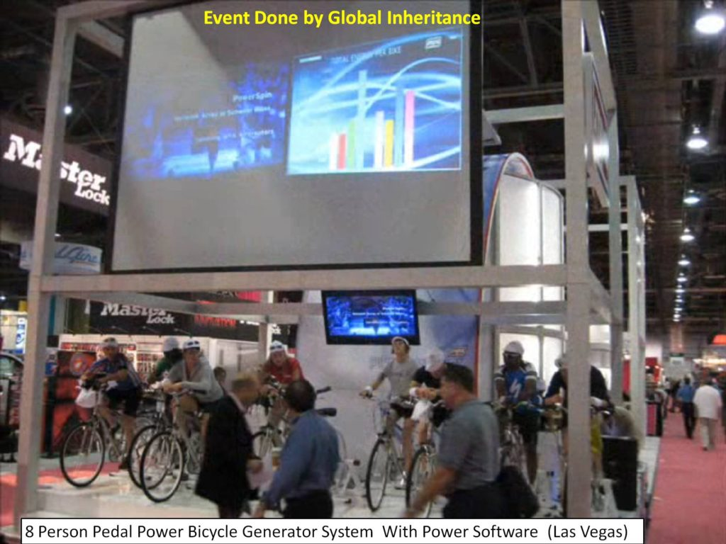 Trade show Event display pedal power generators for bicycle event by Global Inheritance