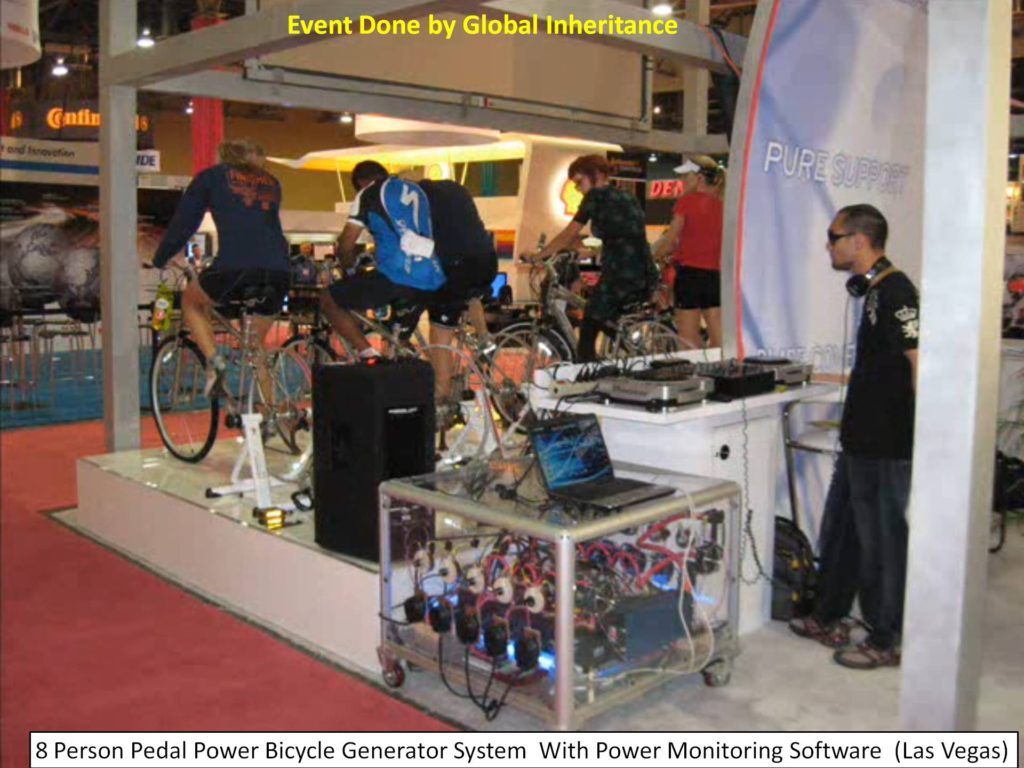 This is a human powered alternative energy DJ sound system booth