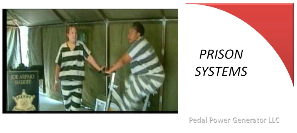 Prison pedal power generator systems for inmates to watch TV