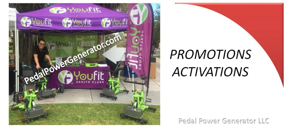 Promotions and activations Pedal Power systems for Cell Phone Charging Stations