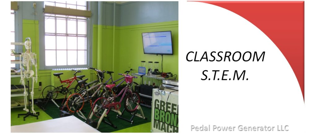 Classroom pedal power for S.T.E.M. & S.T.E.A.M. science technology engineering