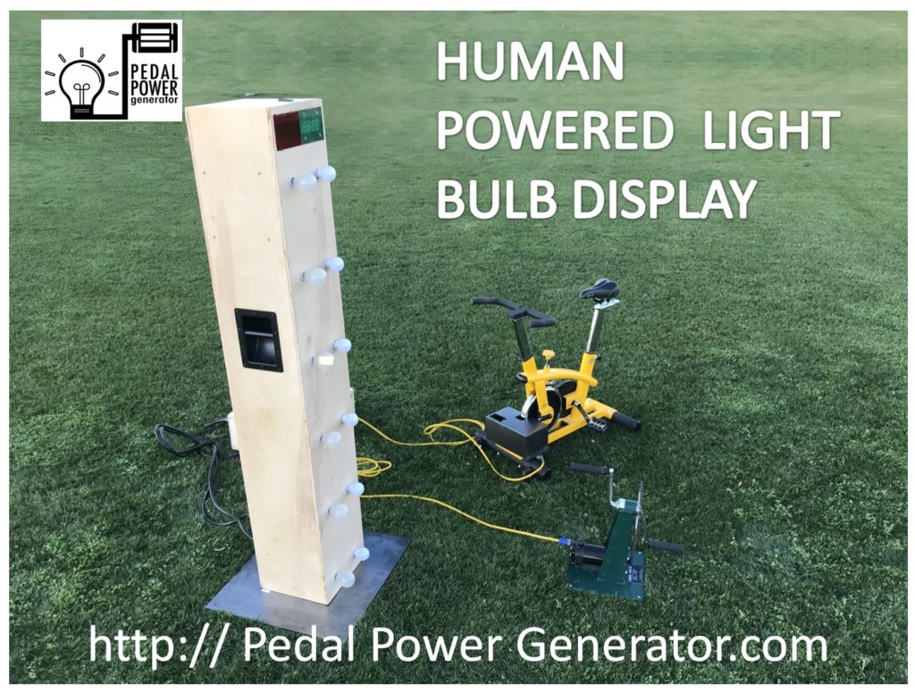 Human power generator light bulb comparison display